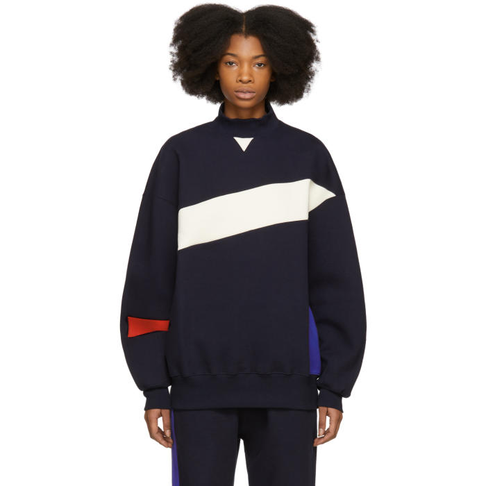 ADER error Navy Colorblock Mock Neck Sweatshirt thumbnail
