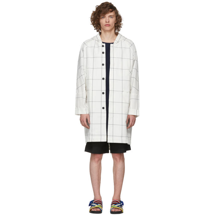 HOUSE OF THE VERY ISLANDS House Of The Very Islands White And Blue Window Pane Check Coat in 10 White Bl