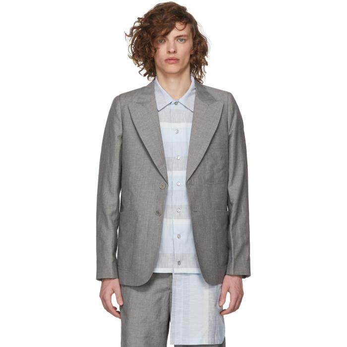 HOUSE OF THE VERY ISLANDS House Of The Very Islands Grey Slim-Fit Tailored Blazer in 8.0 Grey