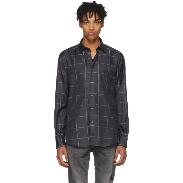 COBRA S.C. Barbed Wire-Jacquard Cotton Shirt in Tonal-Black