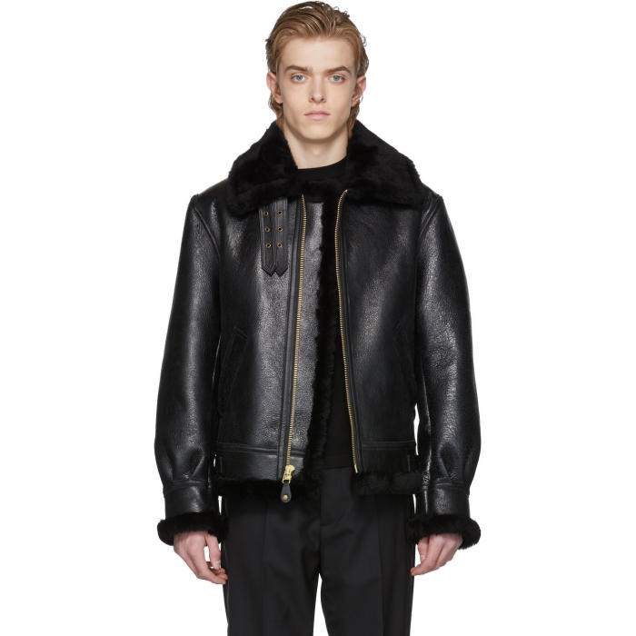 SCHOTT Lc 1259 Aviator Hooded Shearling Jacket in Ebony