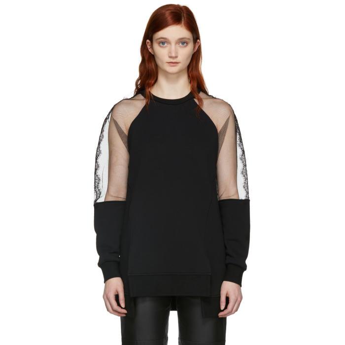 Mcq Alexander Mcqueen Lace Panel Oversized Sweatshirt - Black