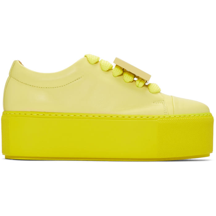 Yellow Double Sole Drihanna Face Sneakers