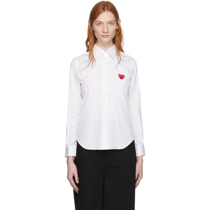Comme des Garçons Play White Heart Patch Shirt thumbnail