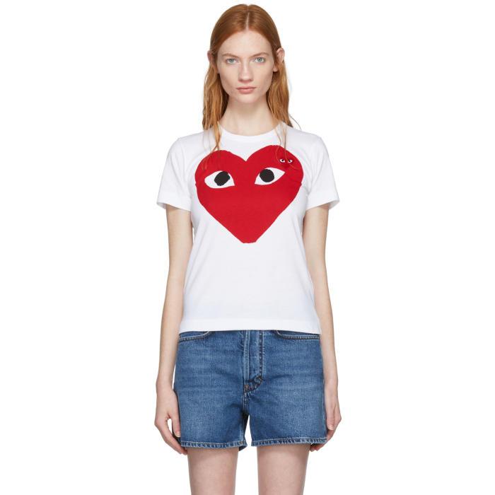 Comme des Garçons Play White Large Double Heart T-Shirt thumbnail