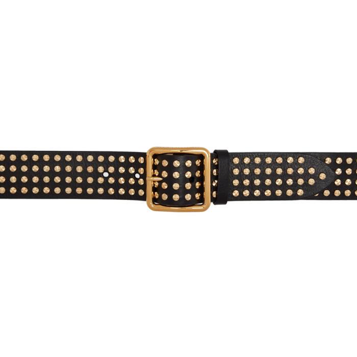 Alexander McQueen Black and Gold Studded Belt thumbnail