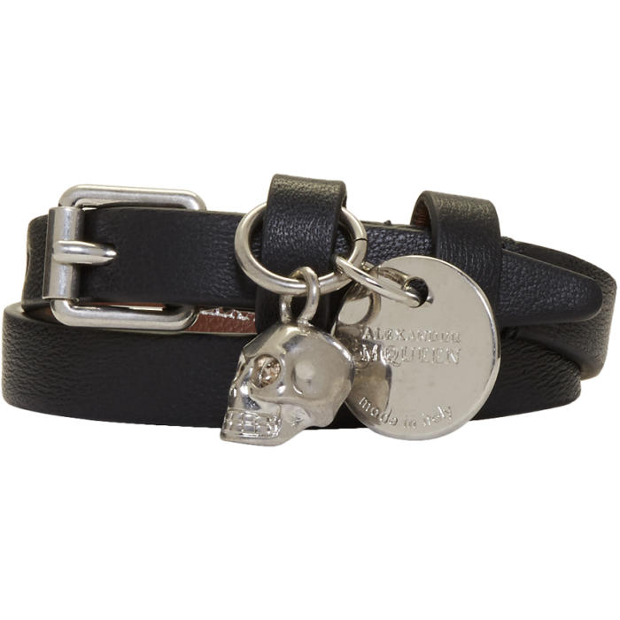 Alexander McQueen Black and Silver Skull Double Wrap Bracelet thumbnail