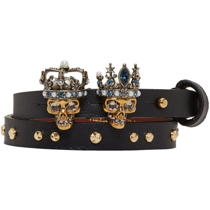 Alexander McQueen Black and Gold Queen and King Double Wrap Bracelet thumbnail