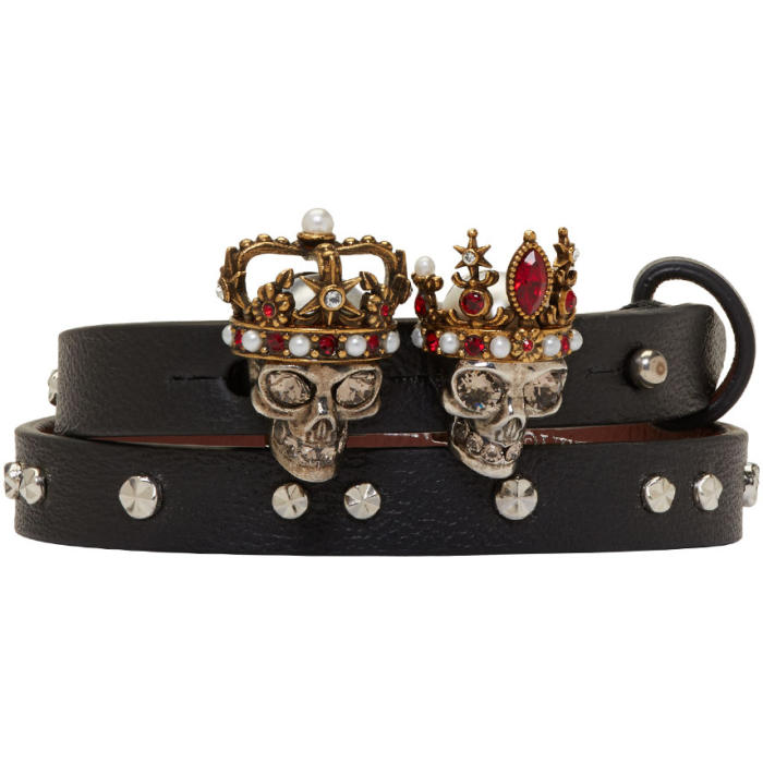 Alexander McQueen Black and Silver Queen and King Double Wrap Bracelet thumbnail