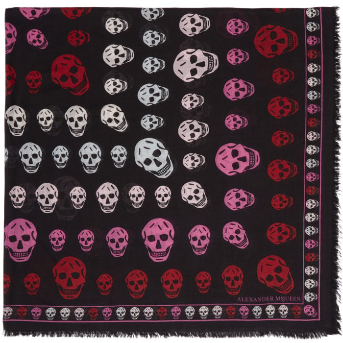 Alexander McQueen Black and Pink Skull Scarf thumbnail