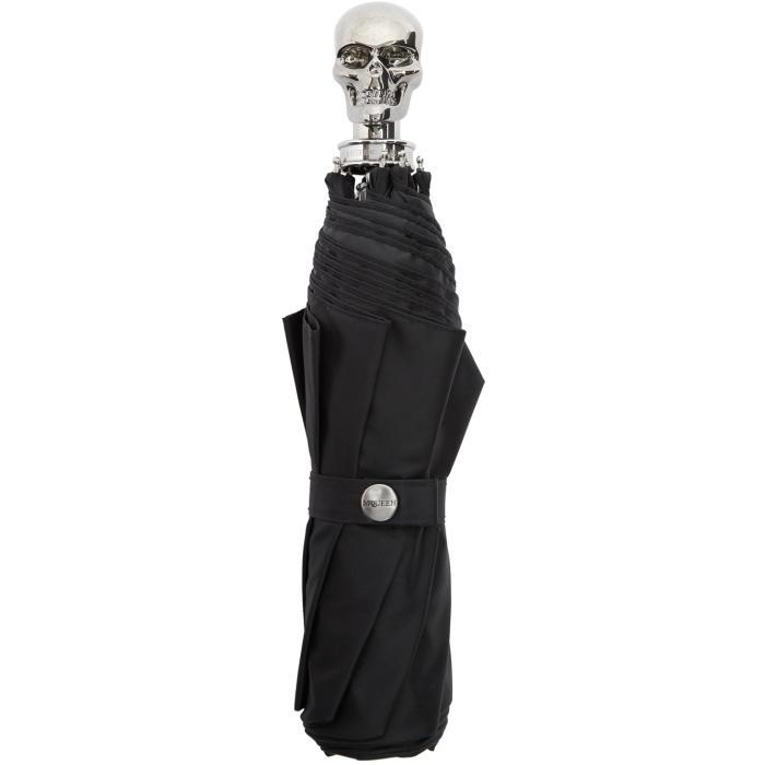 Alexander McQueen Black and Silver Collapsible Skull Umbrella thumbnail