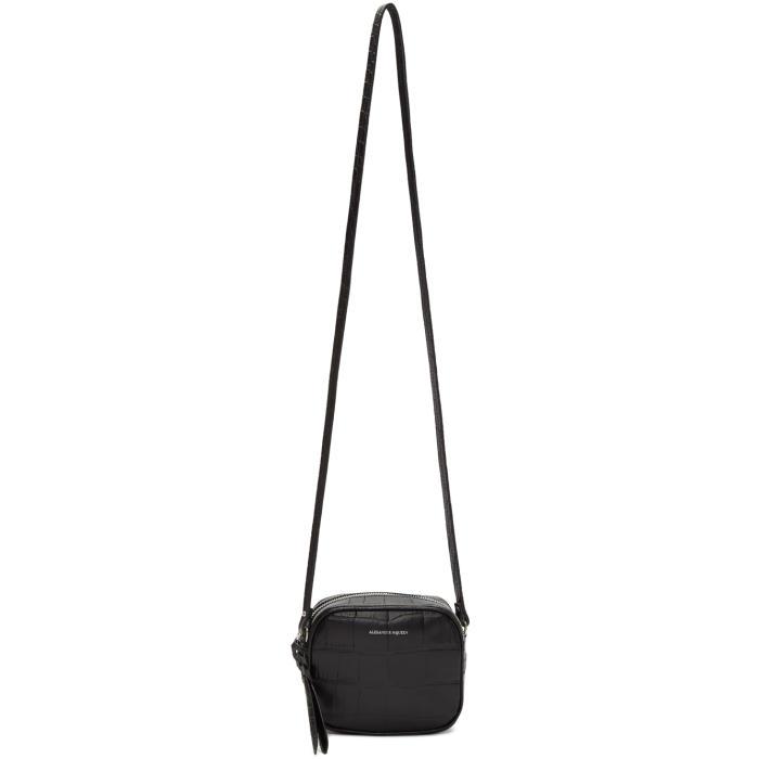 Alexander McQueen Black Croc Mini Camera Bag thumbnail