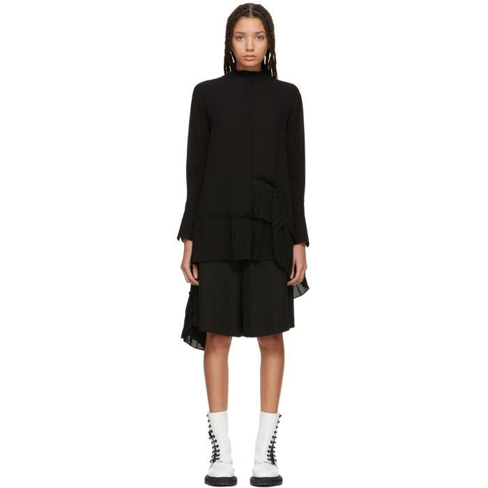 Alexander McQueen Black Asymmetric Ruffle Shirt thumbnail