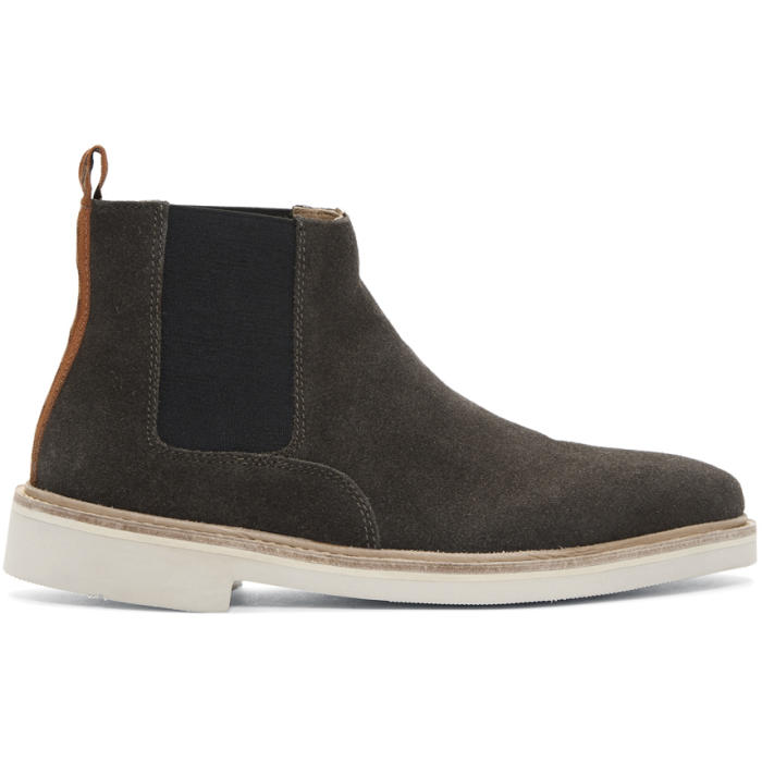 H BY HUDSON H By Hudson Grey Suede Gallant Chelsea Boots in Dkgrey