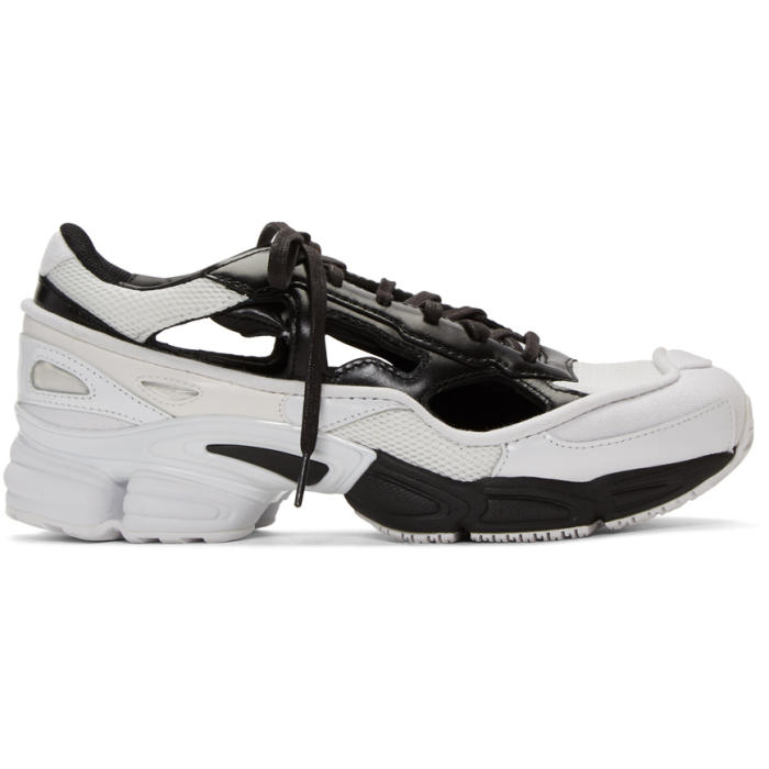 Raf Simons Leathers BLACK & WHITE ADIDAS ORIGINALS LIMITED EDITION REPLICANT OZWEEGO SNEAKERS ANNIVERSARY PACK
