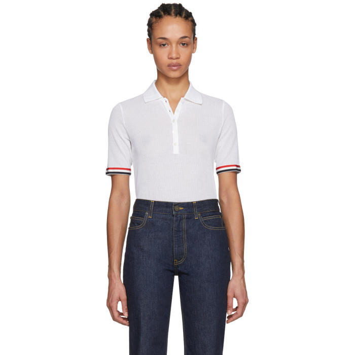 Thom Browne Knitted Polo-Style Short Sleeved Top - White