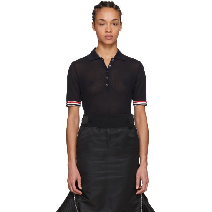 Thom Browne Knitted Polo-Style Top - Blue