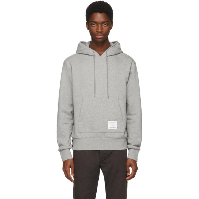 THOM BROWNE Striped-Back Pullover Hoodie, Light Grey