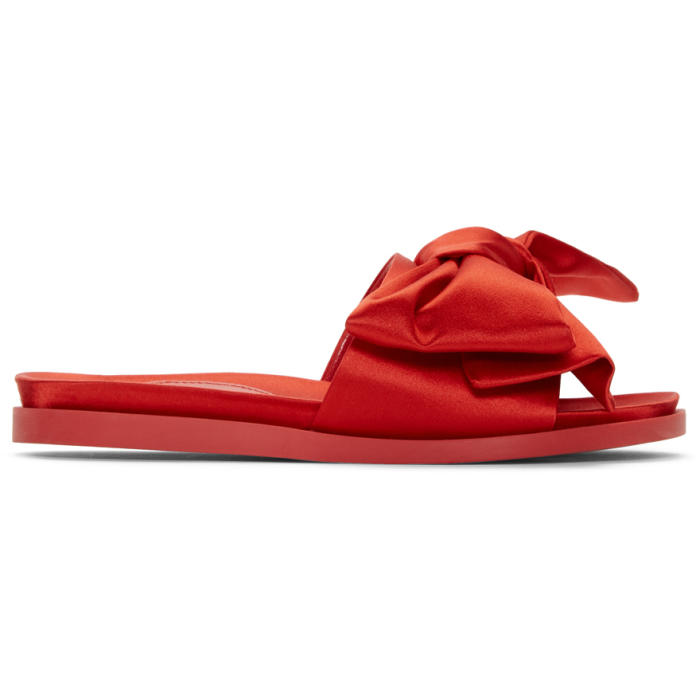 Red Satin Bow Slides