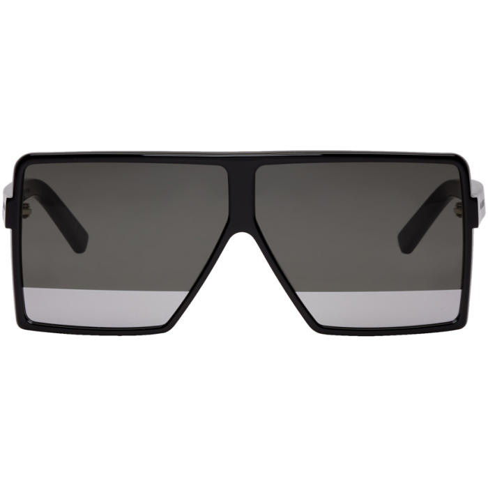 New Wave 183 Shiny Black Acetate Betty S Sunglasses W/Mirror Lenses