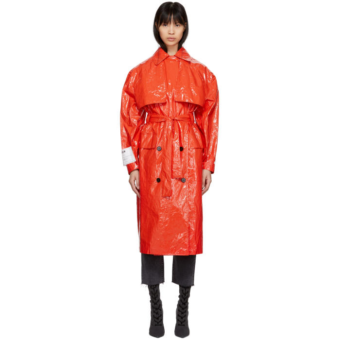 Red Plastic Trench Coat