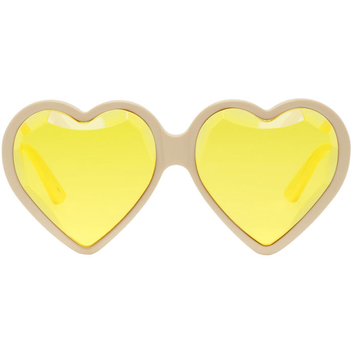 Heart-Shaped Frame Tinted Sunglasses, 003 Ivory