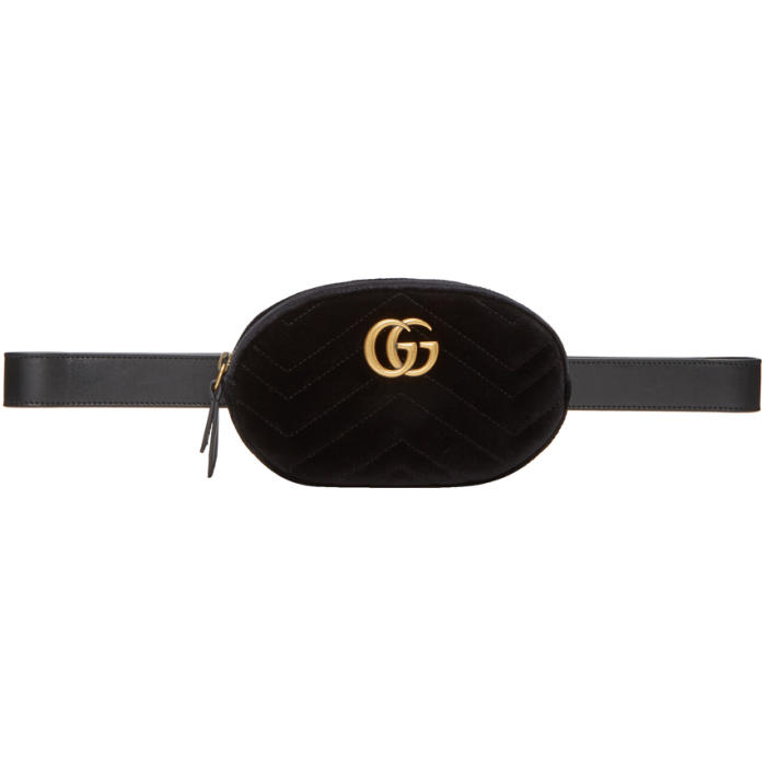BLACK VELVET QUILTED GG MARMONT BELT BAG