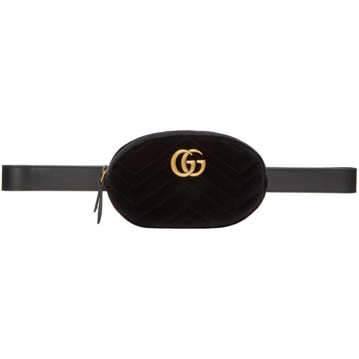 Black Velvet Quilted Gg Marmont Belt Bag
