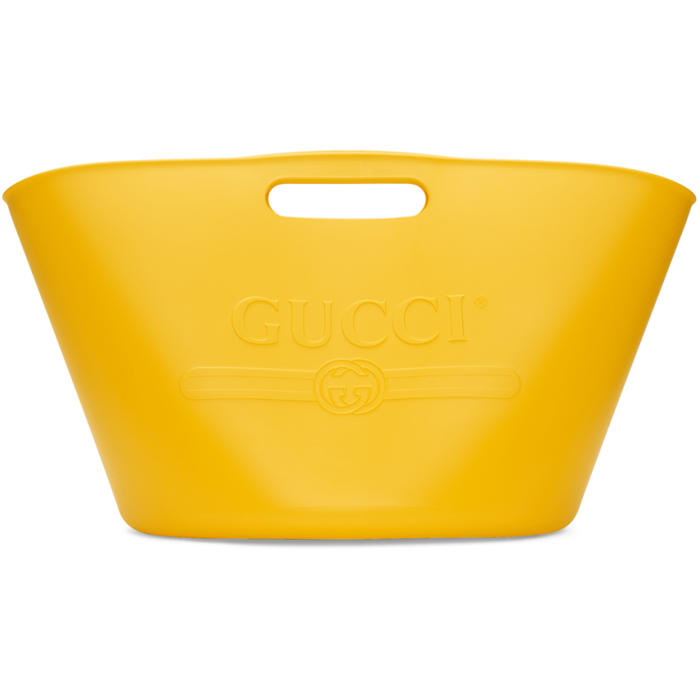 Logo Embossed Rubber Tote Bag, Yellow Rubber