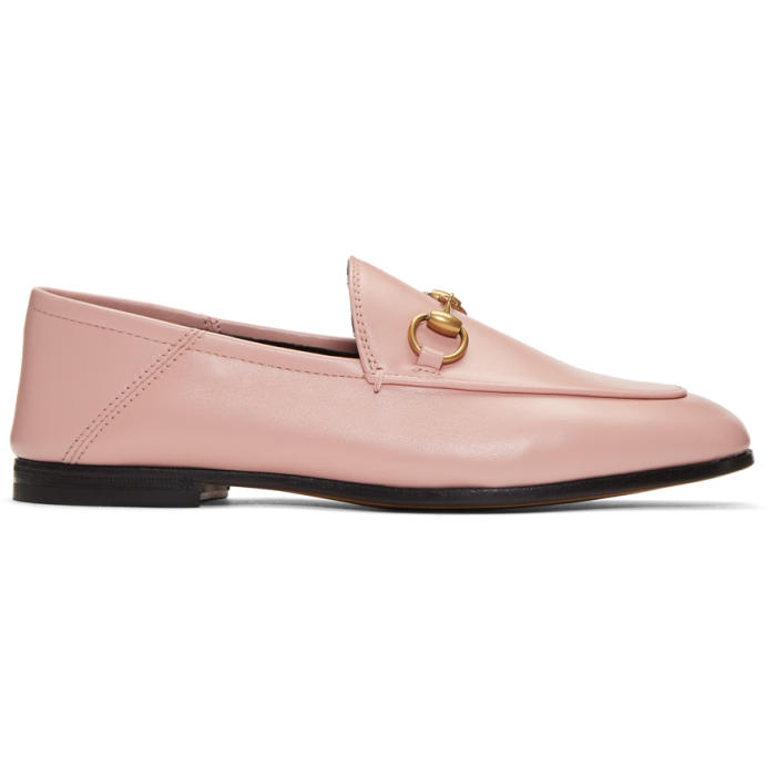 Gucci Brixton Horsebit-Detailed Leather Collapsible-Heel Loafers In Baby Pink