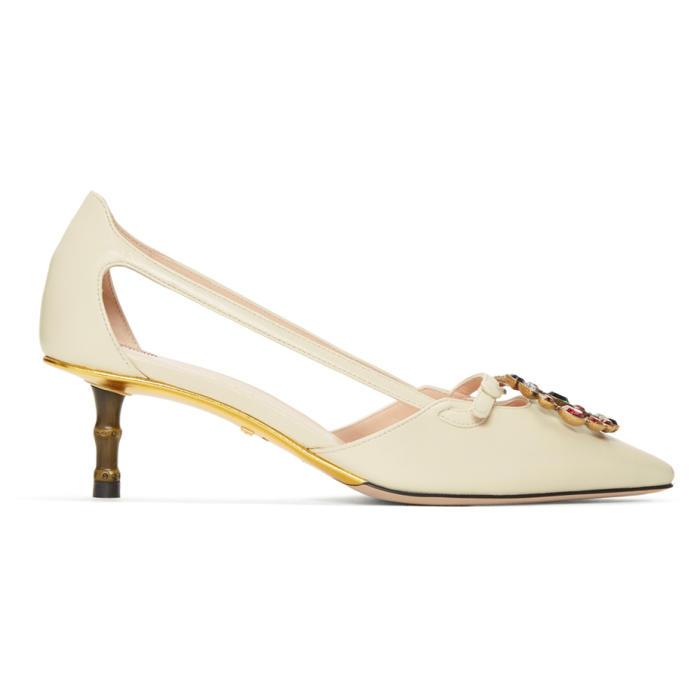 Gucci White Gg Crystal Bamboo Unia Heels