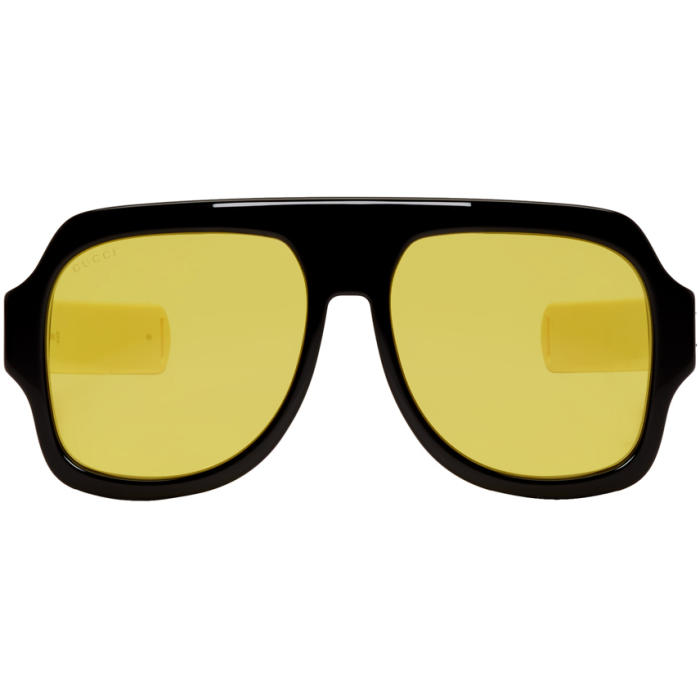 7b2b1b1f72e GUCCI Black   Yellow Sport Sunglasses