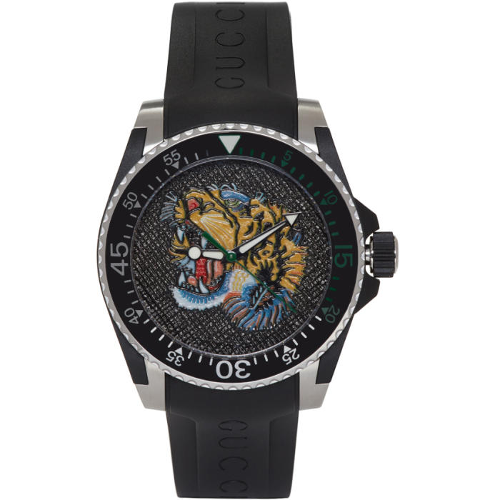 6a8924589ea Gucci Dive Tiger-Dial 40Mm Stainless Steel And Rubber Watch In Black Rubber