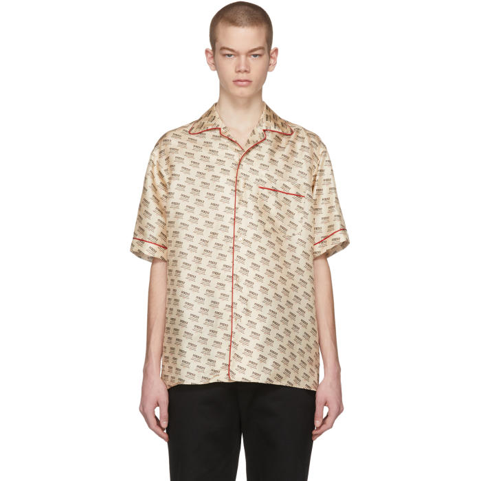 c0469a9bb Gucci Off-White All-Over Logo Stamp Shirt | ModeSens