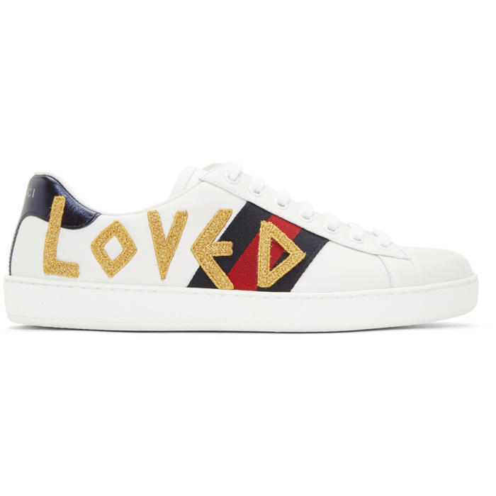 Gucci Mens New Ace Embroidered Leather Low-Top Trainers In 9095 White