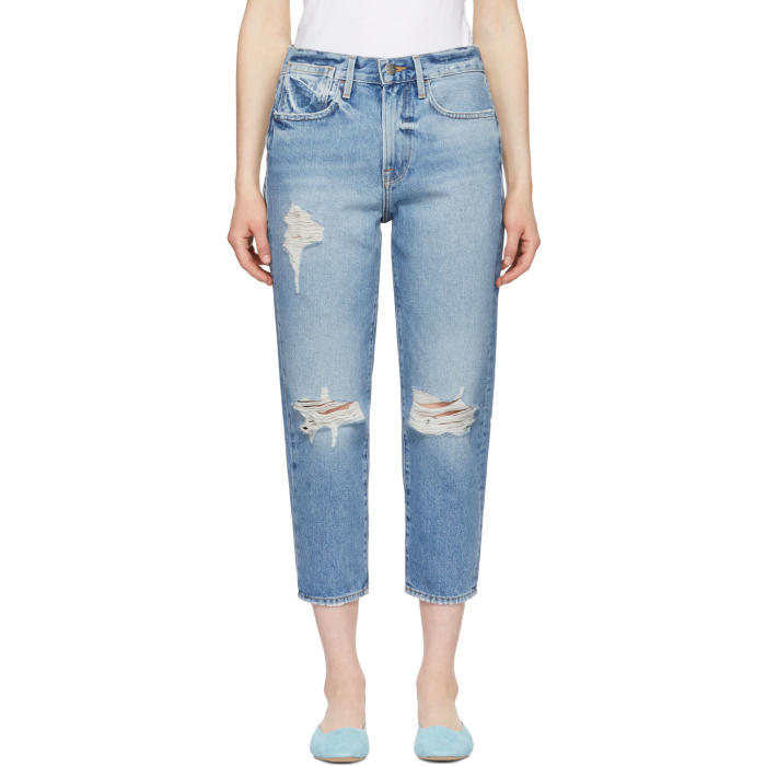 Le Stevie Crop Distressed Jeans - Md. Blue Size 28 in Deane