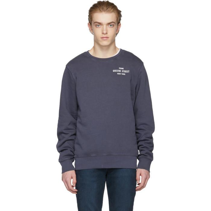 con marino Sudadera azul en lazo de de algodón desgastado de estampado estampado jersey PBqBIf