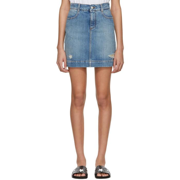 Distressed Denim Miniskirt in Blue
