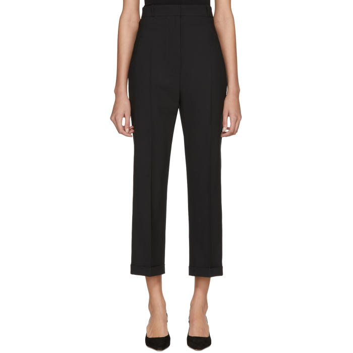 Cariño Cropped Crepe Straight-Leg Pants, Black