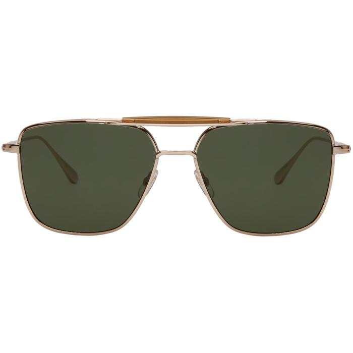 GARRETT LEIGHT Convoy 56 Aviator Sunglasses in Gold