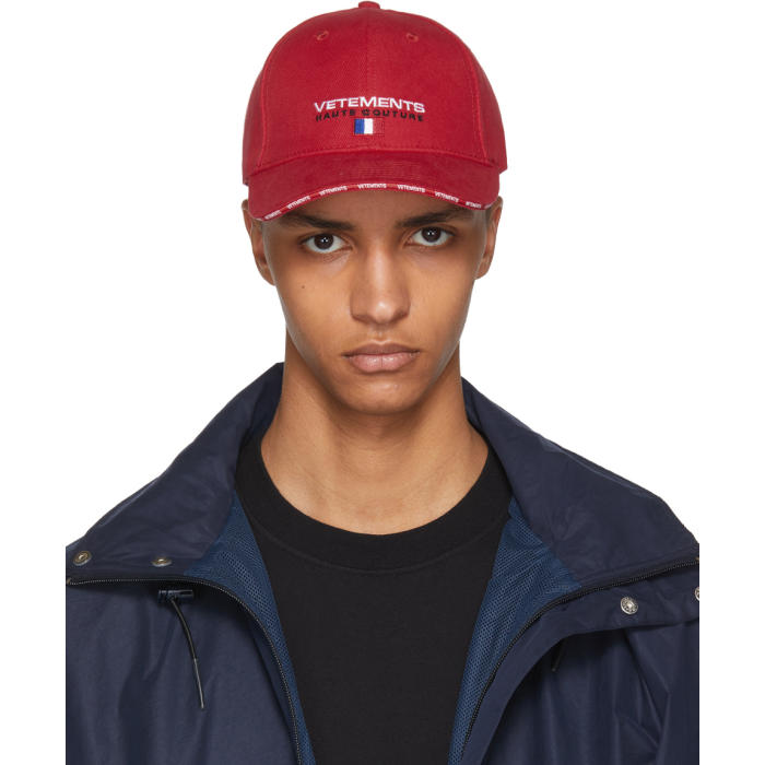Vetements Hats Red 'Haute Couture' Logo Baseball Cap