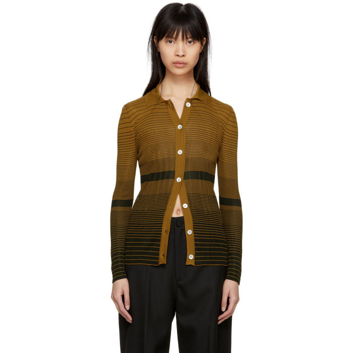 Wales Bonner WALES BONNER BLACK AND TAN DEGRADE BRETON CARDIGAN