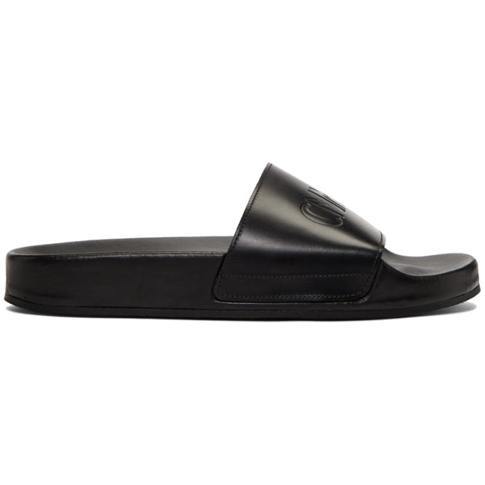 6c10390626f9 Cmmn Swdn Black Leather Pool Slides