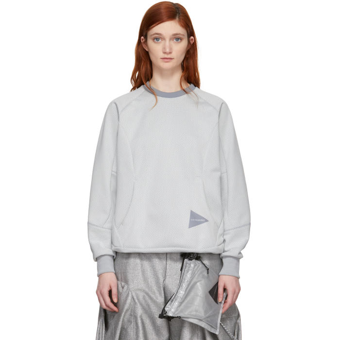 AND WANDER And Wander White Bonding Mesh Pullover Sweatshirt in Off White