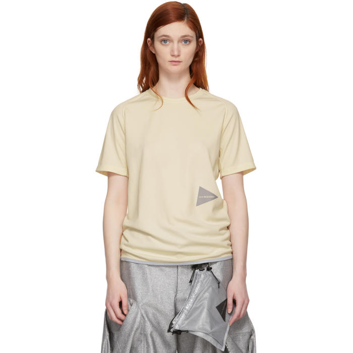 AND WANDER And Wander Off-White Dry Jersey T-Shirt in Off White
