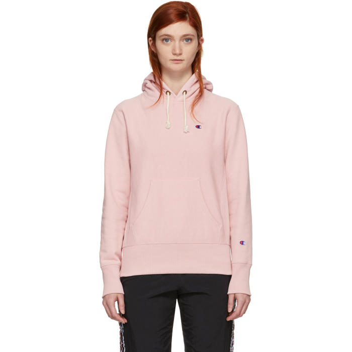 2e179efa Champion Reverse Weave Pink Small Logo Warm-Up Hoodie In Cbs Ps066 ...