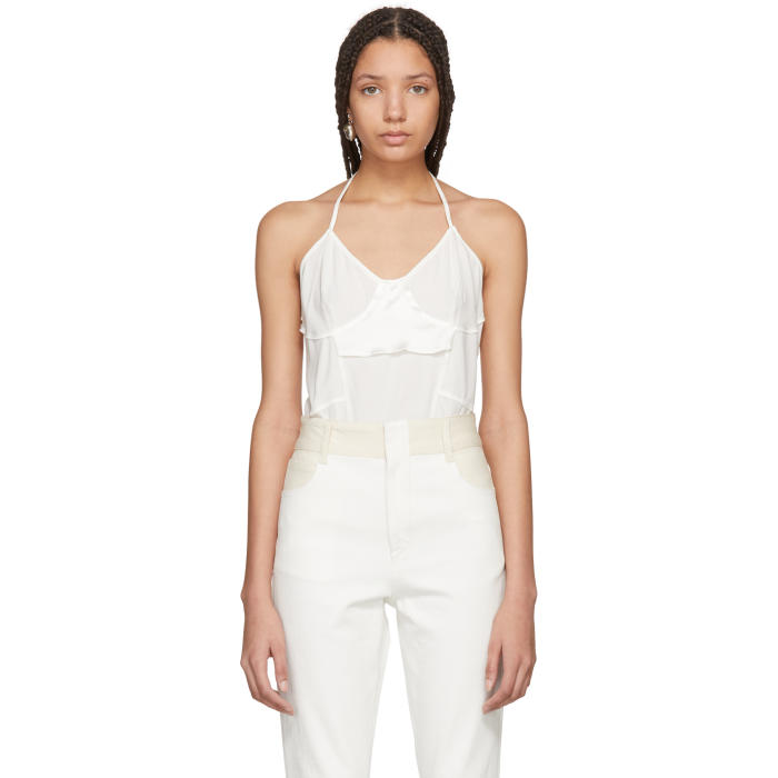 WENDELBORN Wendelborn White Silk Inside-Out Bodysuit