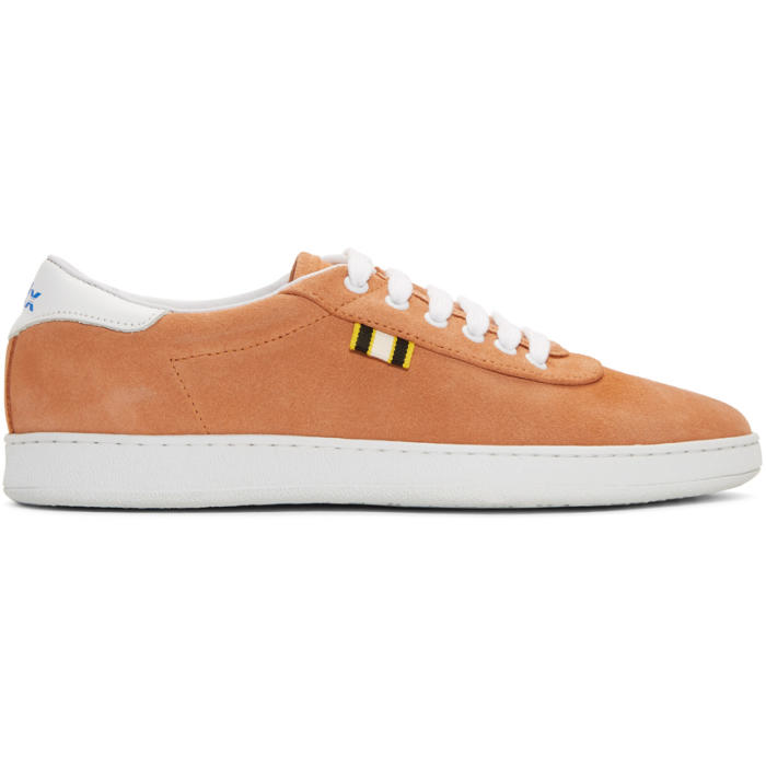 APRIX Contrast Lace-Up Sneakers in Peach