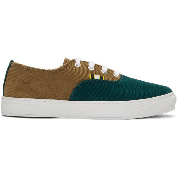 APRIX Two-Tone Corduroy Sneakers in Tan Green