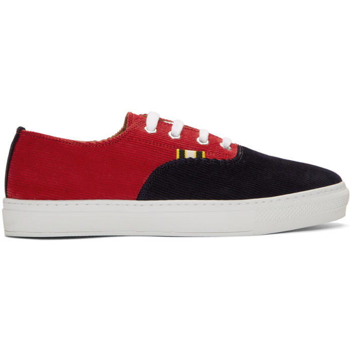 APRIX Two-Tone Corduroy Sneakers in Red Navy